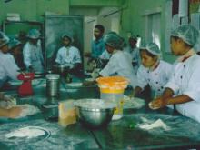 Students are making a cake