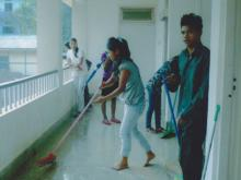 Students are cleaning the Corridor- 2